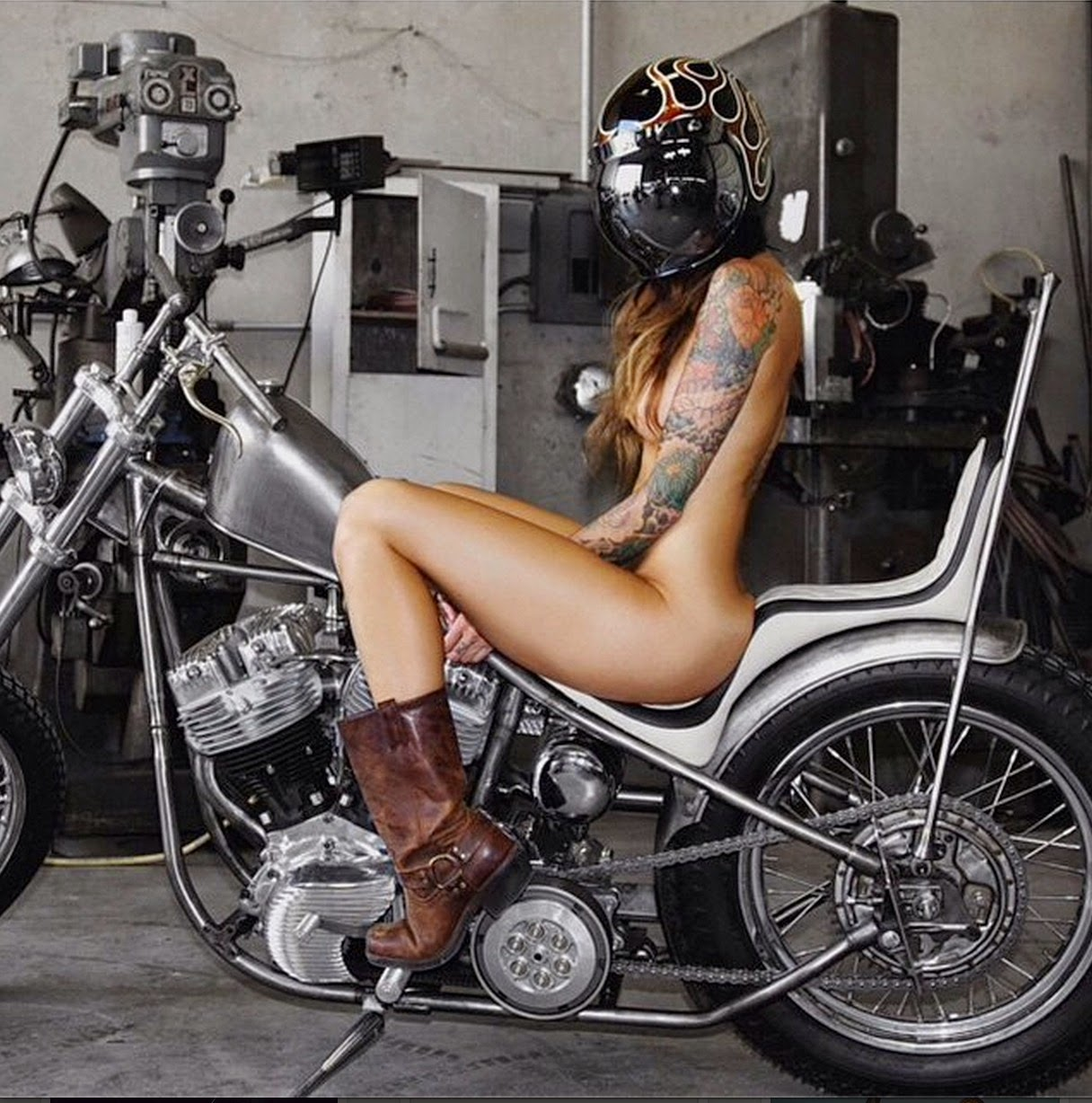 Nude motorcycle form painted black